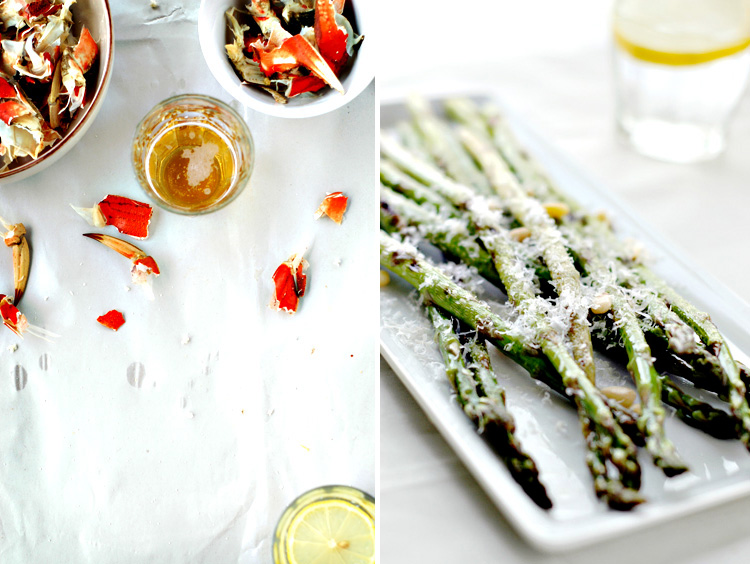 ... Crab and Grilled Asparagus with Lemon-Caper Vinaigrette , serves 4