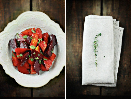 Thyme Roasted Baby Beets with Mint Vinaigrette