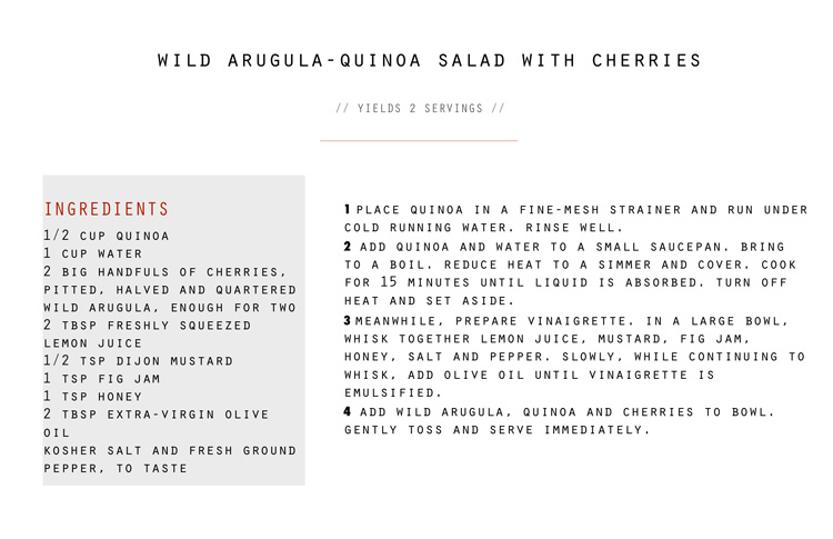 WILD ARUGULA QUINOA SALAD WITH CHERRIES RECIPE