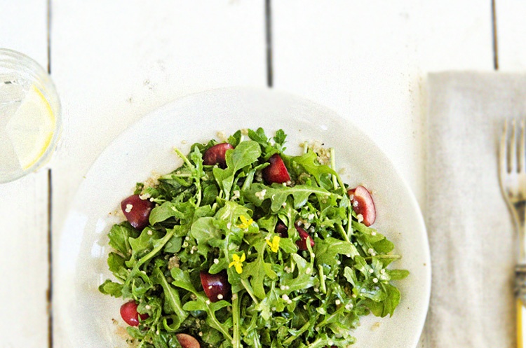 WILD ARUGULA QUINOA SALAD WITH CHERRIES